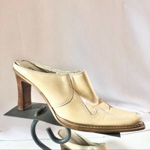 Two Lips Tan Leather Western Mules Size 8 1/2